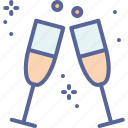 celebrate, champagne, drink, new year, hygge, party