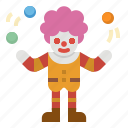 clown, park, circus, amusement, funny icon