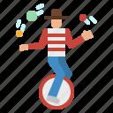 clown, fun, tool, transport, unicycle icon