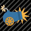 artillery, cannon, fire, fuse, shoot icon