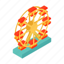 amusement, ferris, fun, isometric, motion, park, spin icon