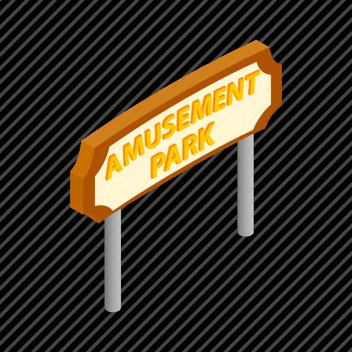 amusement, banner, carnival, entertainment, festival, isometric, park icon