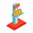 adventure, attraction, extreme, freefall, isometric, launched, thrill icon