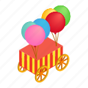 baloon, colorful, isometric, striped, vehicle, wagon, wheel icon