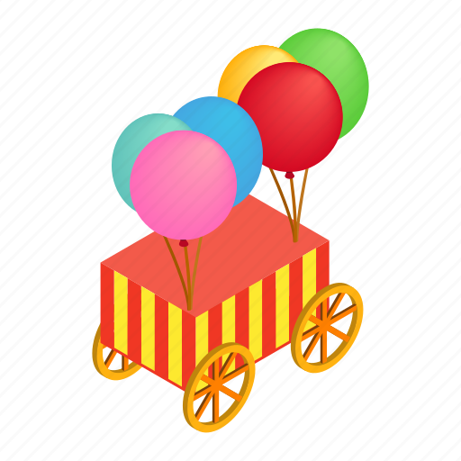 baloon, colorful, isometric, striped, vehicle, wagon, wheel icon