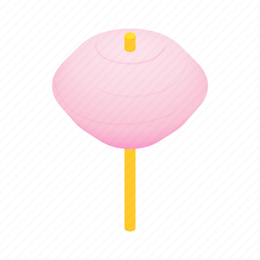 candy, floss, food, isometric, stick, sugar, sweet icon