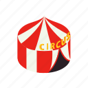 carnival, circus, entertainment, flag, isometric, tent, vintage icon