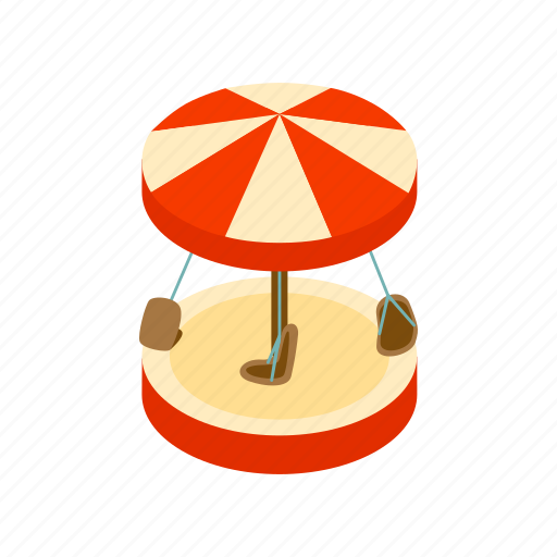 amusement, carnival, carousel, circus, isometric, park, round icon