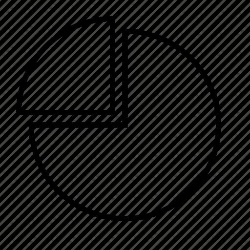 chart, circle, delination, diagram, graph, quarter, schema icon