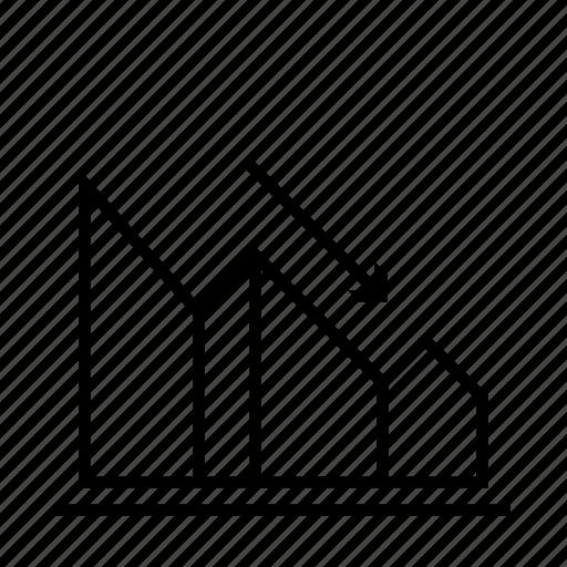 chart, delination, diagram, fall, graph, schema icon
