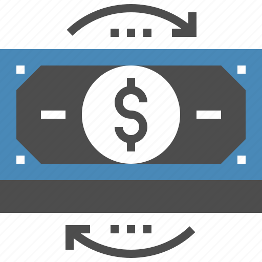 bill, cash, currency, dollar, exchange, flow, money icon