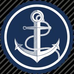 anchor, anchor logo, boat, sailing, sea, ship, travel icon