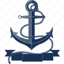 anchor, boat, navy, ocean, rope, sailing, sea icon