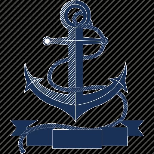 anchor, boat, navy, ocean, rope, sailing, sea icon