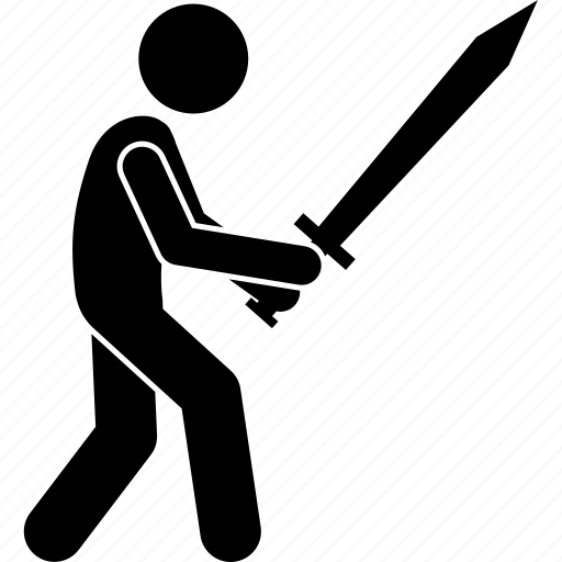 carrying, holding, man, people, person, sword, weapon icon