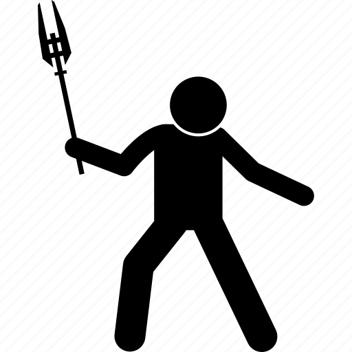 holding, mace, man, morning star, person, stick figure, weapon icon