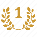 branch, first, laurel, one, place, winner icon