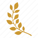 branch, laurel, left, win icon