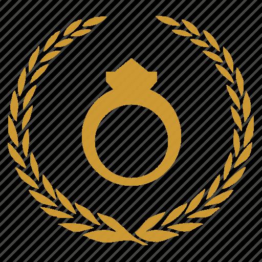 bride, diamond, laurel, rich, ring icon