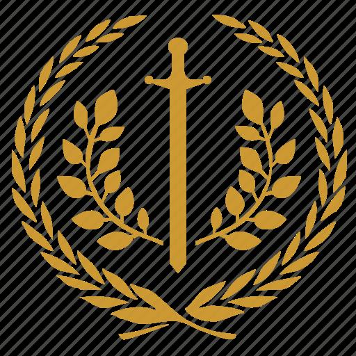 branch, laurel, sword, win icon