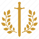 branch, laurel, sword, war, winner icon