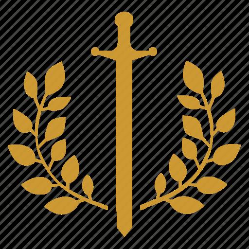 branch, laurel, sword, war, winner icon