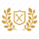 battle, branch, laurel, sword, war, winner icon