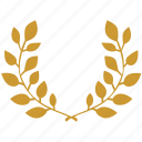 branch, laurels, leaves, winner, wreath icon