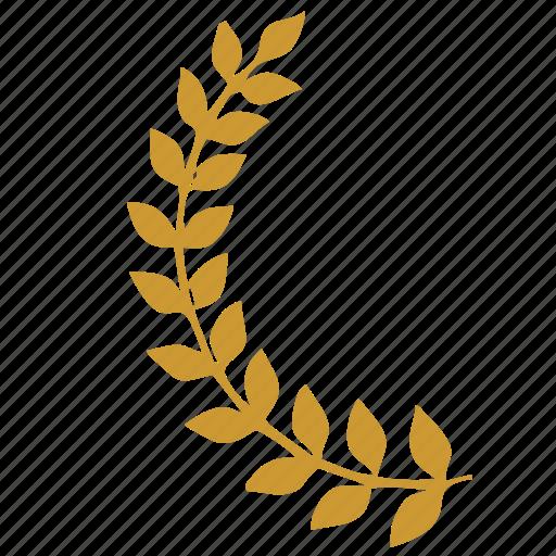 ancient, branch, culture, laurels, left, roman icon