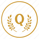 laurel, letter, q, quality, round icon