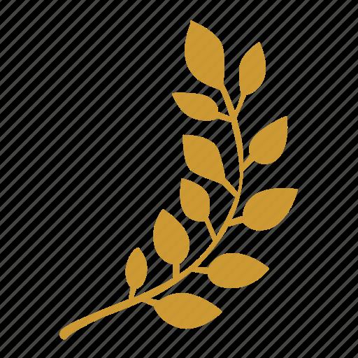 branch, laurel, right, win icon