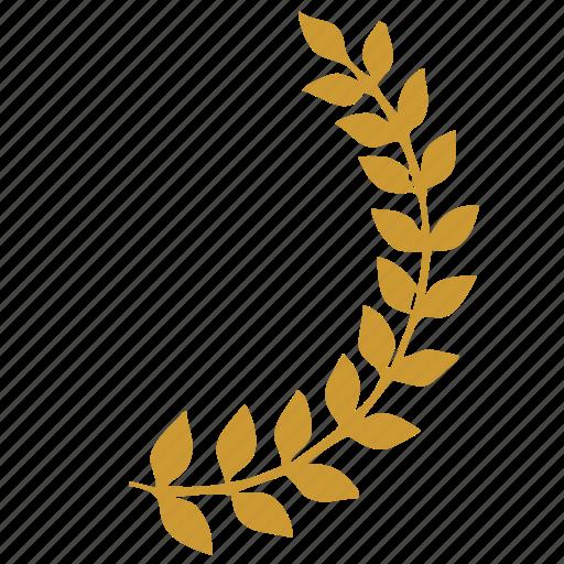 ancient, branch, culture, laurels, right, rome icon