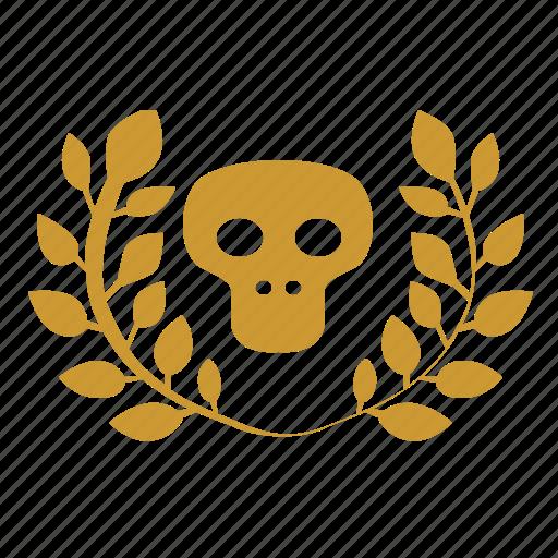 branch, dead, death, laurel, skull icon