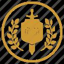 hero, laurel, medal, round, soldier, winner icon