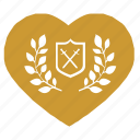 heart, laurel, love, shield, sweat, sword icon