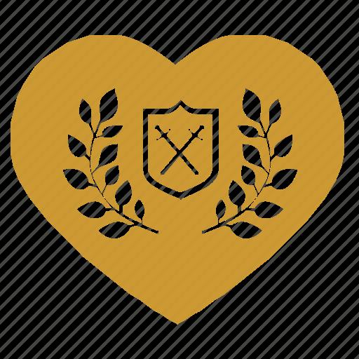 heart, laurel, love, shield, sweat, sword icon