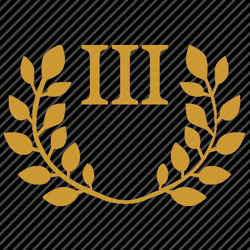 branch, laurel, third, three icon