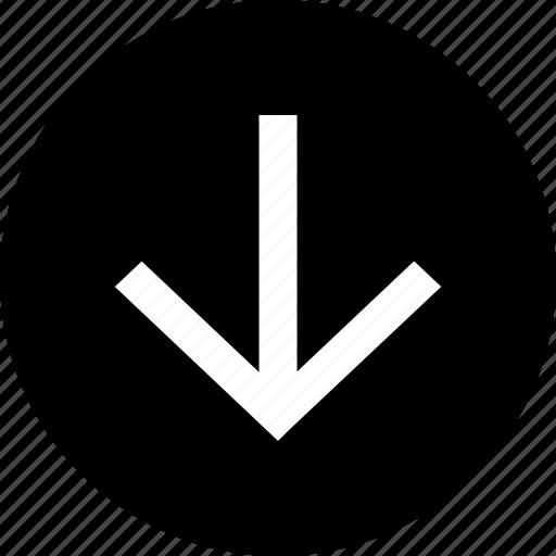 arrow, below, circle, direction, down icon