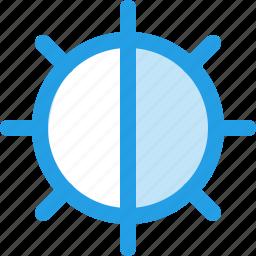 adjust, brightness, control, half, interface, light icon