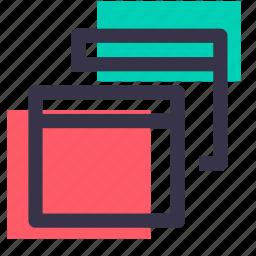 interface, multiple, popup, tab, web, window, windows icon