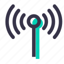 antenna, electronics, radiowaves, signal, technology, wifi icon