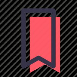 bookmark, favourite, mark, marker, ribbon, tick icon