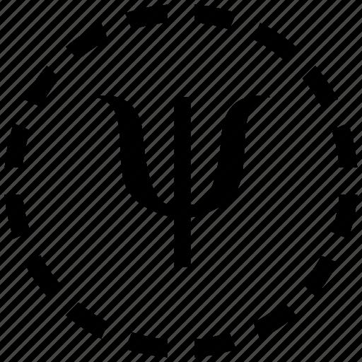 alphabet, geometry, greek, letter, math, psi icon