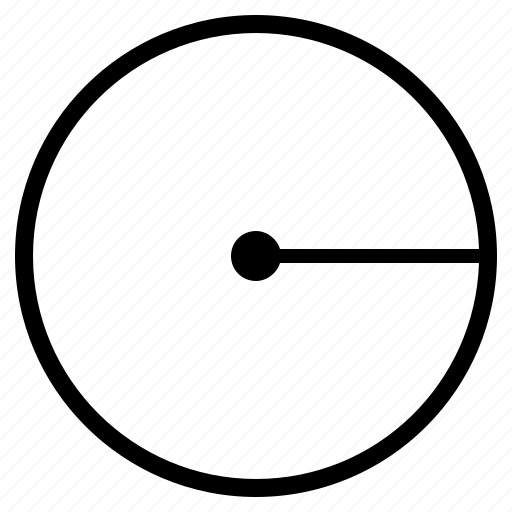 circle, geometry, radius, round icon