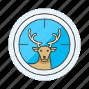 aim, animal, deer, fauna, herbivore, hunting, mamals, target, vertebrate icon