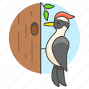 animal, birds, fauna, hole, tree, vertebrate, woodpecker icon