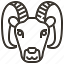 animal, face, goat, head icon
