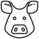 animal, face, head, pig icon