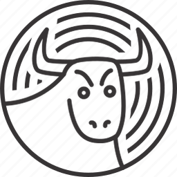 animal, bull, circle, line, lineart, pattern icon