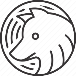 animal, circle, line, lineart, pattern, wolf, wolve icon